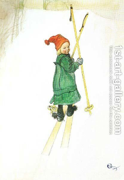 Esbjorn On Skis by Carl Larsson - Reproduction Oil Painting