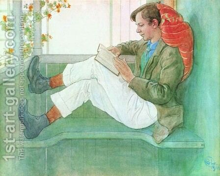 Esbjorn Reading On The Veranda by Carl Larsson - Reproduction Oil Painting