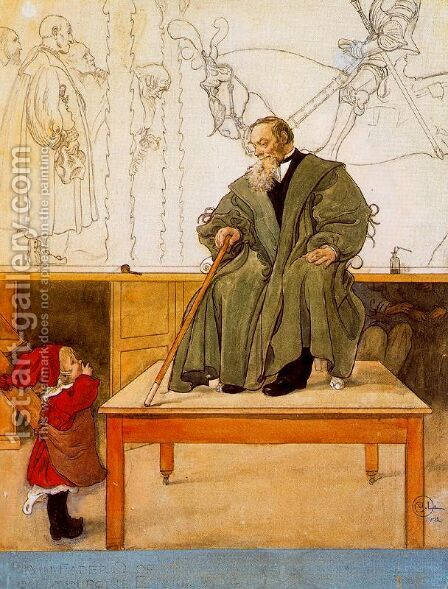 Grandfather with Esbjörn by Carl Larsson - Reproduction Oil Painting