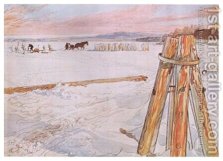 Harvesting Ice by Carl Larsson - Reproduction Oil Painting