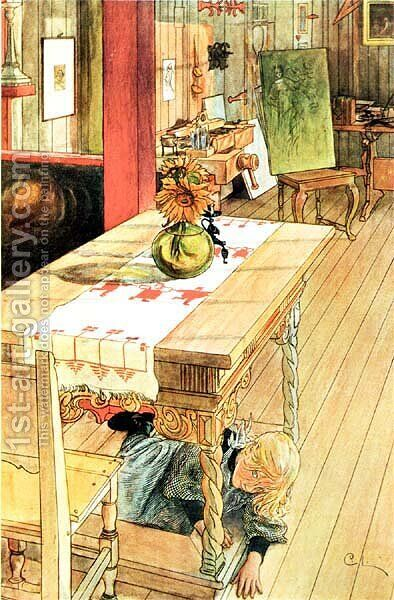 Hide And Seek by Carl Larsson - Reproduction Oil Painting