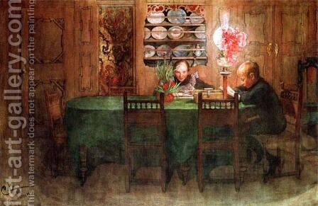 Homework by Carl Larsson - Reproduction Oil Painting