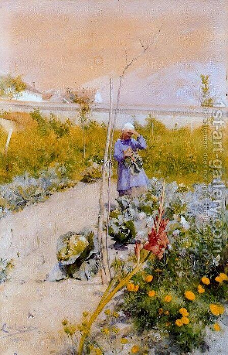 In the garden 2 by Carl Larsson - Reproduction Oil Painting