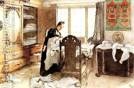 Karin By The Linen Cupboard by Carl Larsson - Reproduction Oil Painting