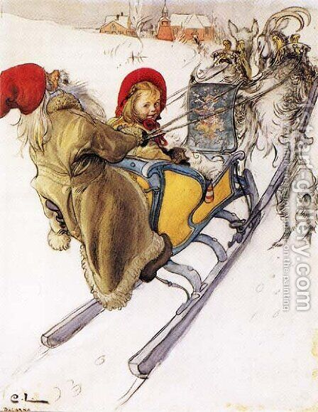 Kersti's Sleigh Ride by Carl Larsson - Reproduction Oil Painting