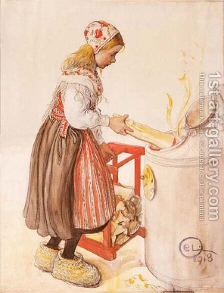 Lillanna Feeds The Heater by Carl Larsson - Reproduction Oil Painting