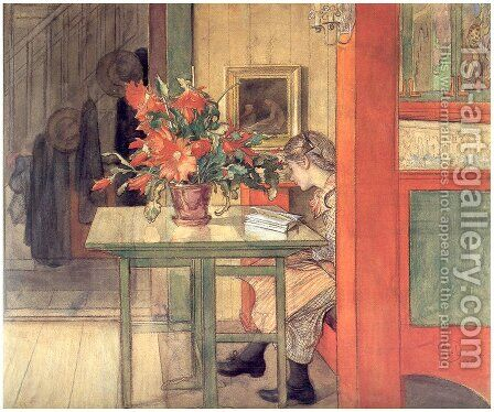 Lisbeth reading by Carl Larsson - Reproduction Oil Painting