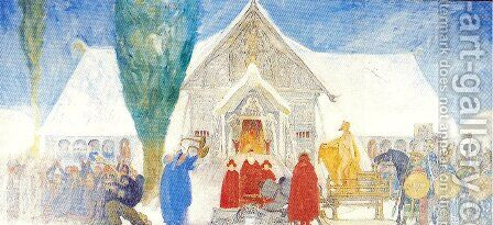 Midwinter Sacrifice sketch by Carl Larsson - Reproduction Oil Painting