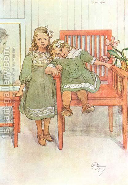 Minni And Essi by Carl Larsson - Reproduction Oil Painting