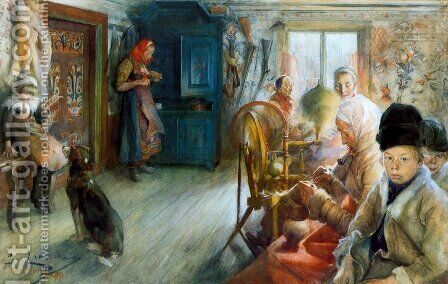 Rural interior in winter by Carl Larsson - Reproduction Oil Painting