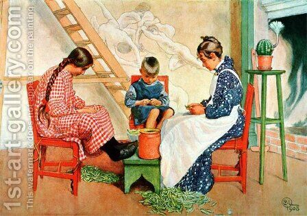 Shelling Peas by Carl Larsson - Reproduction Oil Painting