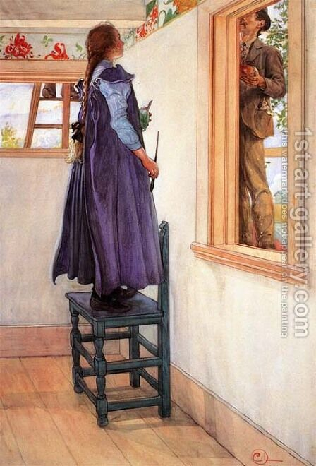 Suzanne And Another by Carl Larsson - Reproduction Oil Painting