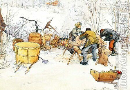 The Slaughter by Carl Larsson - Reproduction Oil Painting