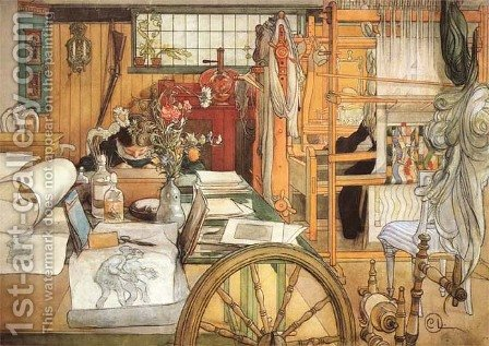The Workshop by Carl Larsson - Reproduction Oil Painting