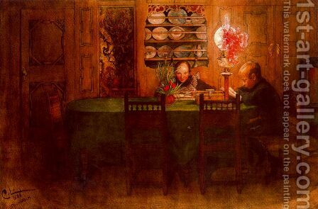 The homework by Carl Larsson - Reproduction Oil Painting