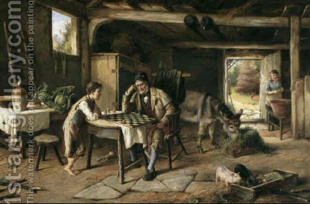 A game of draughts by Charles Hunt - Reproduction Oil Painting