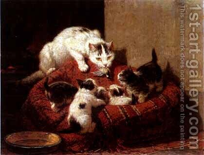 Education by Henriette Ronner-Knip - Reproduction Oil Painting