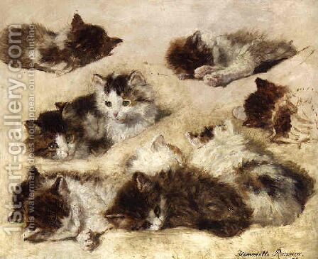 Kittens (study) by Henriette Ronner-Knip - Reproduction Oil Painting