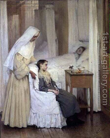 At Notre-Dame du Perpetuel Bon Secours Hospital by Henri-Jules-Jean Geoffroy (Geo) - Reproduction Oil Painting