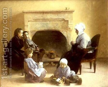 Family seated around a hearth by Henri-Jules-Jean Geoffroy (Geo) - Reproduction Oil Painting