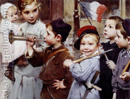 July 14th, Bastille Day by Henri-Jules-Jean Geoffroy (Geo) - Reproduction Oil Painting