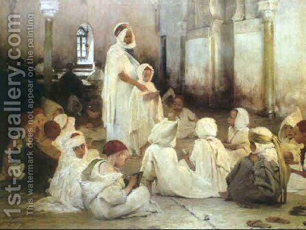 The Koranic lesson by Henri-Jules-Jean Geoffroy (Geo) - Reproduction Oil Painting
