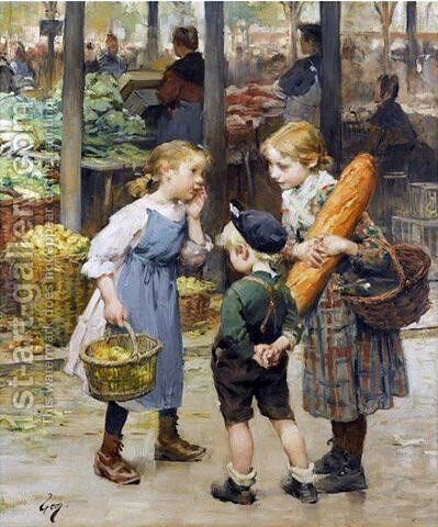 The menageres girls by Henri-Jules-Jean Geoffroy (Geo) - Reproduction Oil Painting