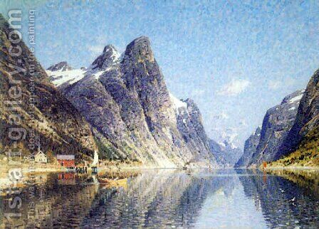On the fjord, summer by Adelsteen Normann - Reproduction Oil Painting