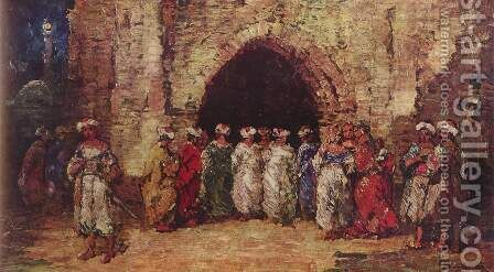 Oriental scene by Adolphe Joseph Thomas Monticelli - Reproduction Oil Painting