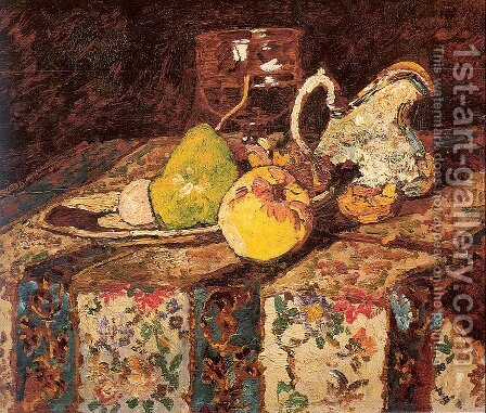 Still Life with White Pitcher by Adolphe Joseph Thomas Monticelli - Reproduction Oil Painting