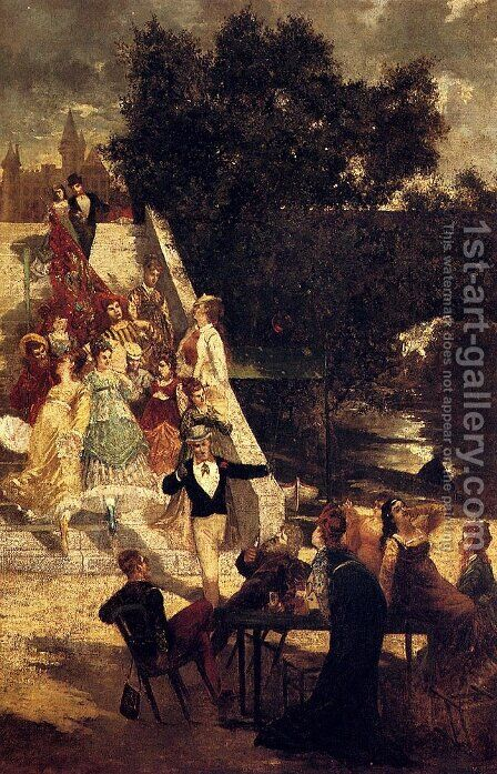 The Terrace of Chateau of St. Germain by Adolphe Joseph Thomas Monticelli - Reproduction Oil Painting