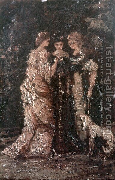 Three Women by Adolphe Joseph Thomas Monticelli - Reproduction Oil Painting