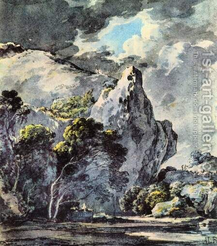 Rocky landscape by Adrian Ludwig Richter - Reproduction Oil Painting