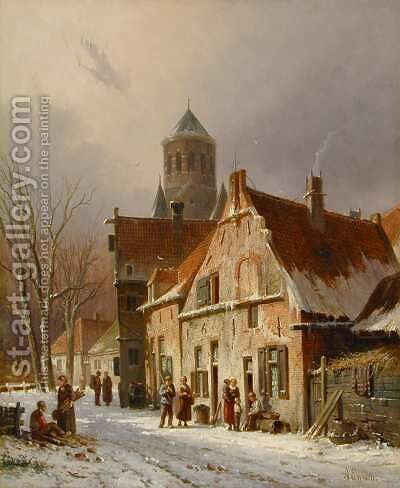 Dutch Street Scene in Winter by Adrianus Eversen - Reproduction Oil Painting