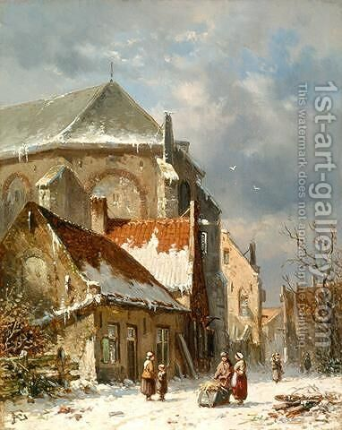 Figures near the church by Adrianus Eversen - Reproduction Oil Painting