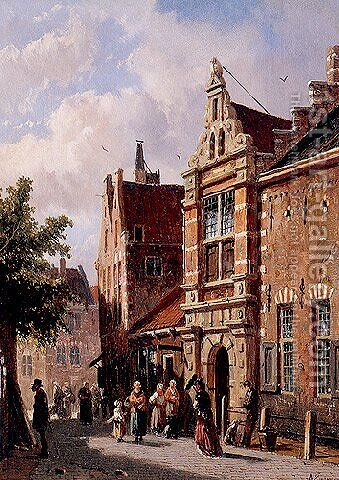 Peasans in the street by Adrianus Eversen - Reproduction Oil Painting