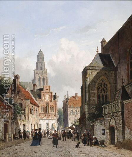 View in Utrecht by Adrianus Eversen - Reproduction Oil Painting
