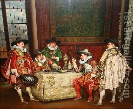 Tactical Chess by Adolphe Alexandre Lesrel - Reproduction Oil Painting