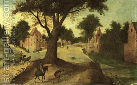 A Wooded Landscape With Travellers Entering A Town 2 by Abel Grimmer - Reproduction Oil Painting