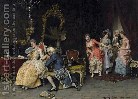 Galante advertisement. Distinguished society with the game in the salon by Adriano Cecchi - Reproduction Oil Painting