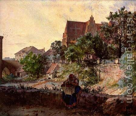 Church of Sts. Peter and Paul, Striegau by Adolph von Menzel - Reproduction Oil Painting