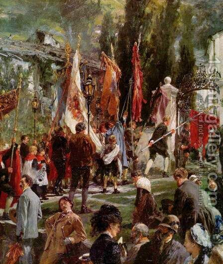 Corpus Christi procession in Hofgastein, detail by Adolph von Menzel - Reproduction Oil Painting