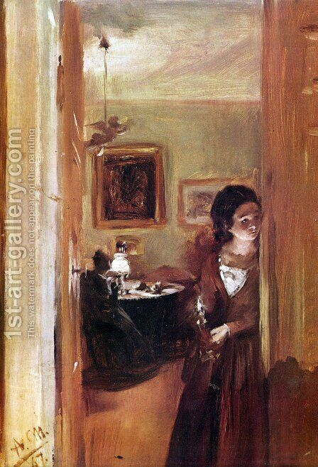 Lilving room with the artist's sister by Adolph von Menzel - Reproduction Oil Painting