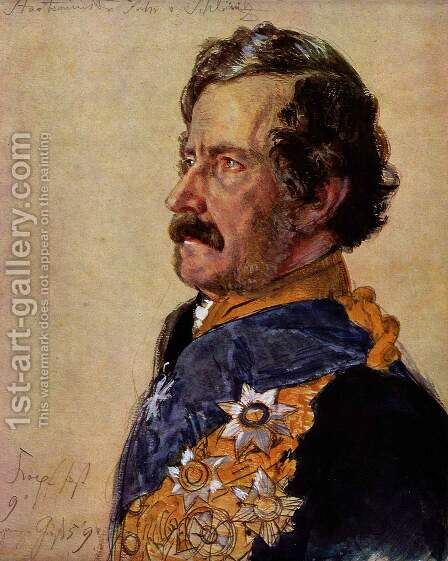 Minister of State Freiherr von Schleinitz (portrait study of the coronation picture) by Adolph von Menzel - Reproduction Oil Painting