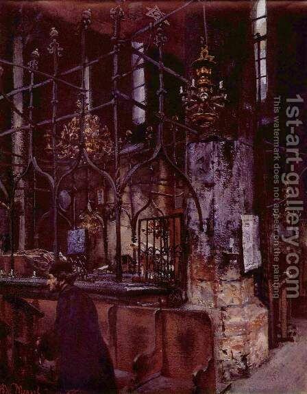 Old synagogue at Prague by Adolph von Menzel - Reproduction Oil Painting
