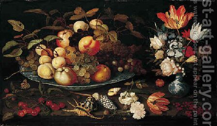 A still life of apples, grapes, and peaches in a blue and white porcelain bowl, a bouquet of tulips, ros by Balthasar Van Der Ast - Reproduction Oil Painting