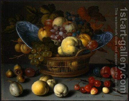 Basket of Fruits by Balthasar Van Der Ast - Reproduction Oil Painting