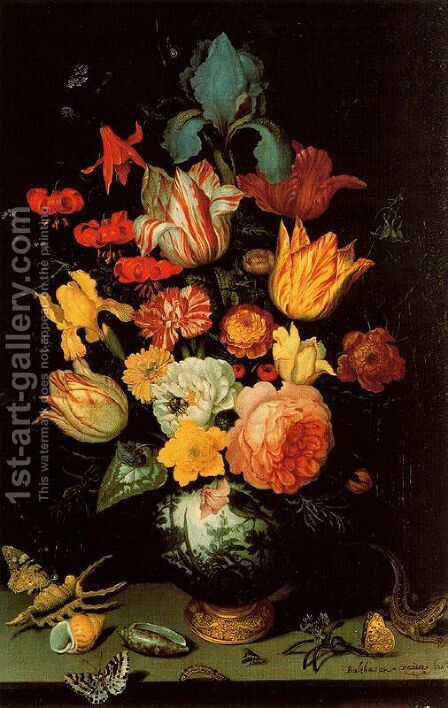 Chinese Glass with flowers, shells and insects by Balthasar Van Der Ast - Reproduction Oil Painting