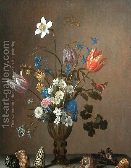 Flowers, shells, butterflies and grasshoppers by Balthasar Van Der Ast - Reproduction Oil Painting