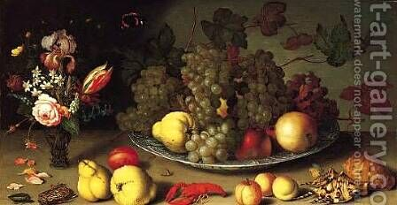 Still Life with Fruits and Flowers by Balthasar Van Der Ast - Reproduction Oil Painting